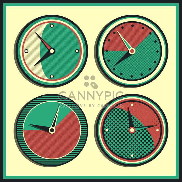 Vector vintage clocks showing different time,vector illustration - Free vector #132301