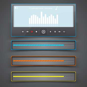 Media player interface on gray background,vector illustration - vector #132311 gratis