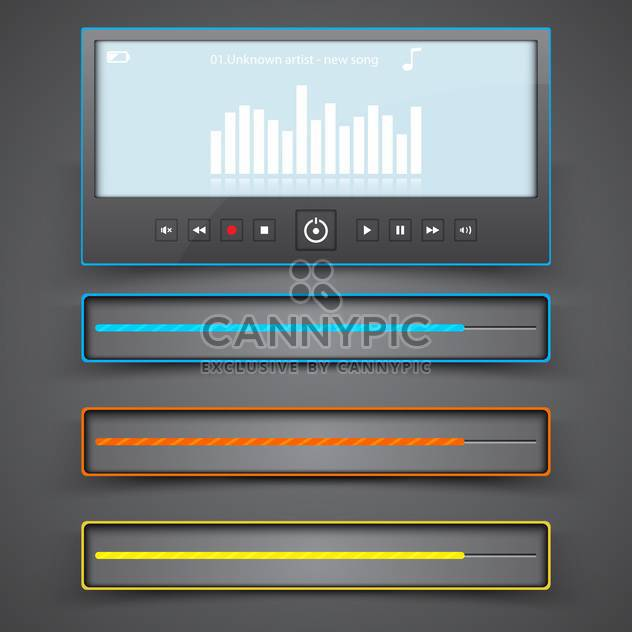 Media player interface on gray background,vector illustration - Free vector #132311