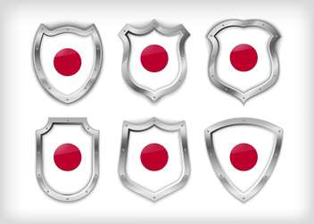 Different icons with flags of Japan,vector illustration - vector gratuit #132371
