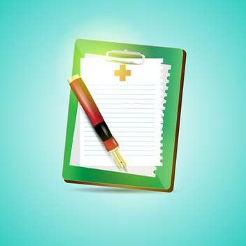 Clipboard blank sheet of paper and fountain pen on blue background - vector gratuit #132381