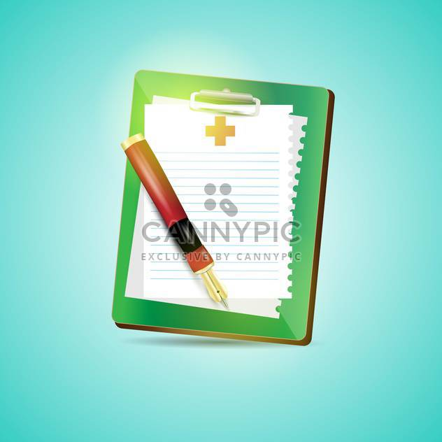 Clipboard blank sheet of paper and fountain pen on blue background - Free vector #132381