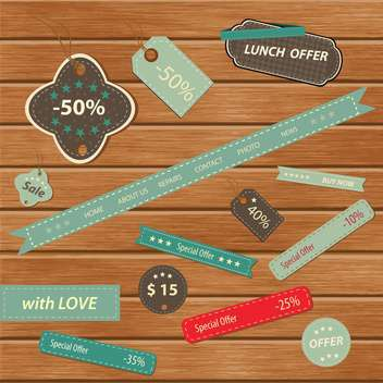 Vintage colorful frames on wooden background - Kostenloses vector #132451