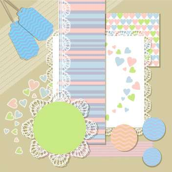 blank labels pattern with hearts - vector gratuit #132561
