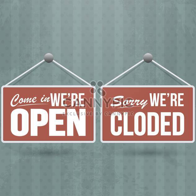 retro open and closed door signs - Free vector #132631