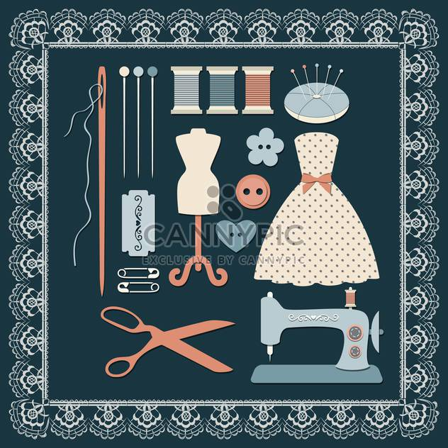sewing craft icons set - Free vector #132641