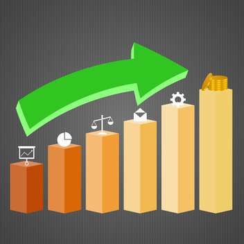 3d business graph with growth arrow - Kostenloses vector #132681