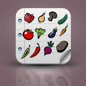set of vector vegetables icons - vector gratuit #132731