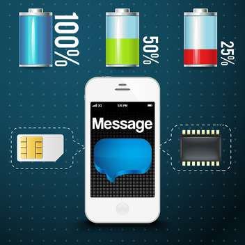 vector mobile phone with sim card - Free vector #132741