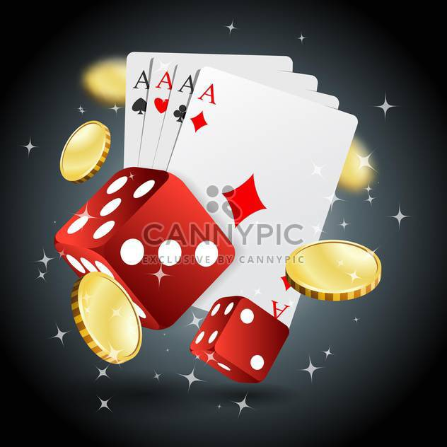 poker gambling chips, dices and cards - Free vector #132751