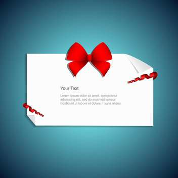 present card with red gift bow - vector gratuit #132791