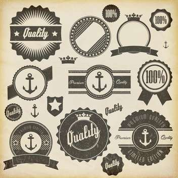vintage premium quality labels set - vector gratuit #132861