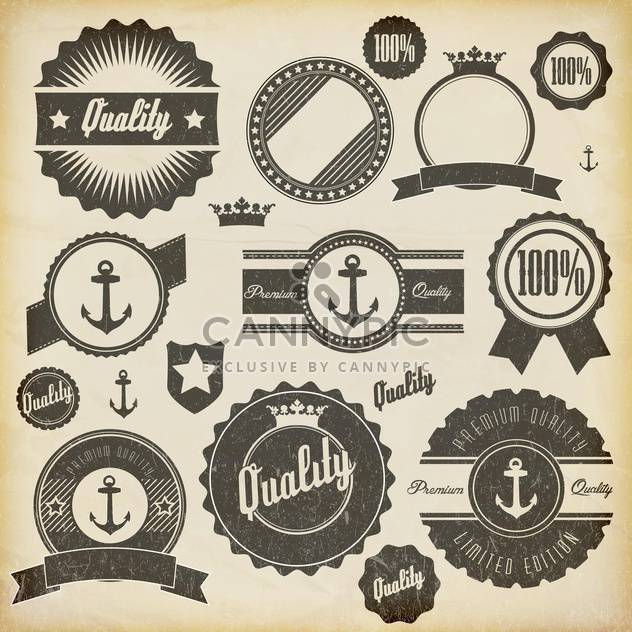vintage premium quality labels set - vector #132861 gratis