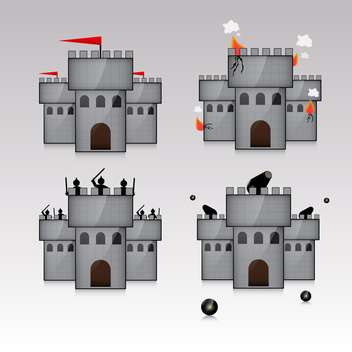 castle and guns with kernels illustration - vector gratuit #132891