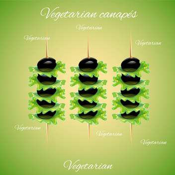 tasty canapes with vector olives - vector gratuit #133061