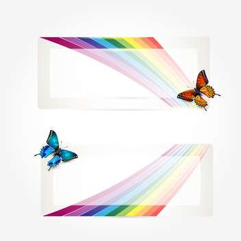butterflies with rainbow trail background - vector gratuit #133121