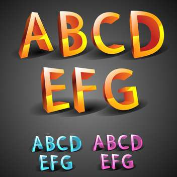 glowing font alphabet letters set - vector #133321 gratis
