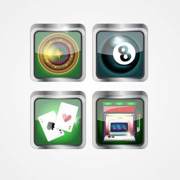 casino game icons set - vector gratuit #133391