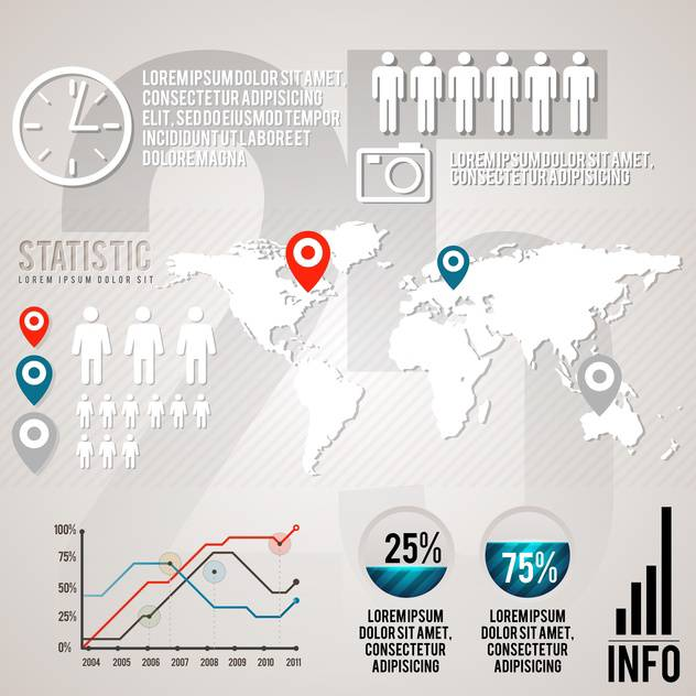 set elements of business infographics - Free vector #133411