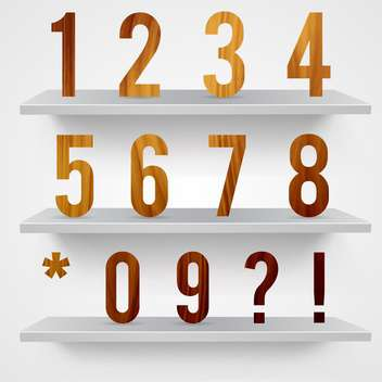 wooden font numbers background - vector gratuit #133421
