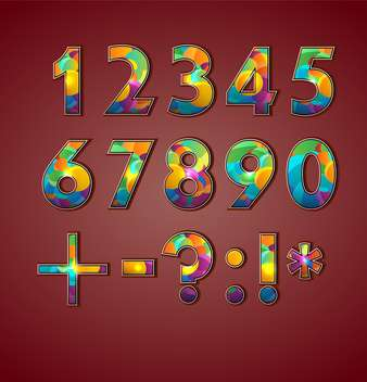 vector coloful set of numbers - vector gratuit #133501