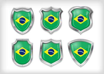 brazil shield vector set background - vector #133591 gratis