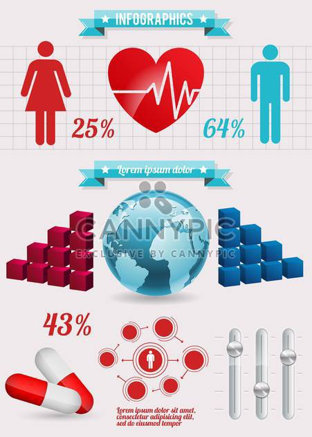 set of medical infographic elements - Free vector #133611