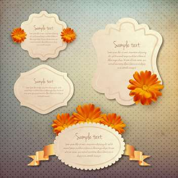 vintage frames set with flowers - vector gratuit #133681