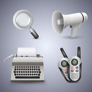 Magnifying glass, gramophone, typewriter and radio - vector #133751 gratis