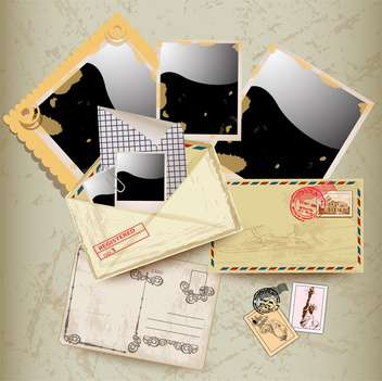 envelope, stamp and photo frames - vector gratuit #133761