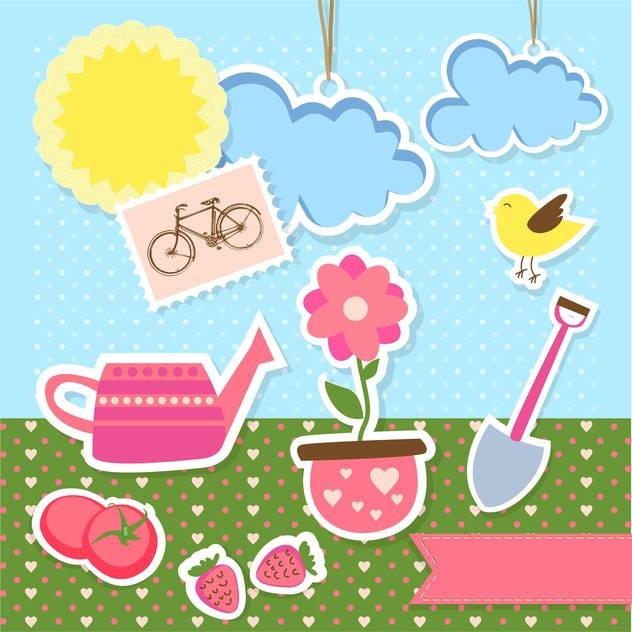 vector garden items background - vector gratuit #133821