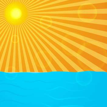 sun over blue ocean background - vector #133831 gratis