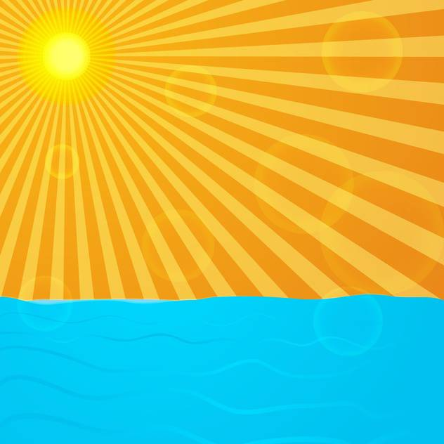 sun over blue ocean background - vector gratuit #133831