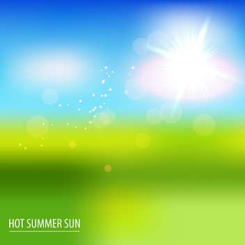 green field and blue sky with summer sun - Kostenloses vector #133951