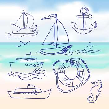 sea and hand-drawn boat set - vector gratuit #133981