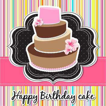 happy birthday card with cake - vector #134061 gratis