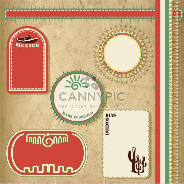 travel to mexico vintage elements set - Free vector #134081