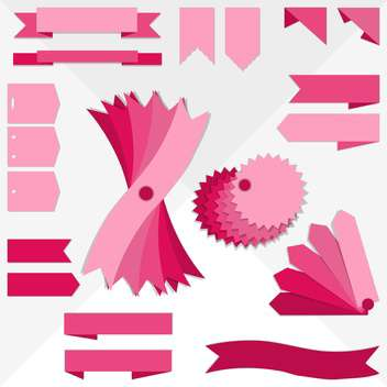 pink ribbons collection set - vector #134111 gratis