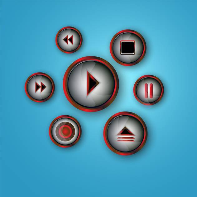 media player buttons set - бесплатный vector #134231