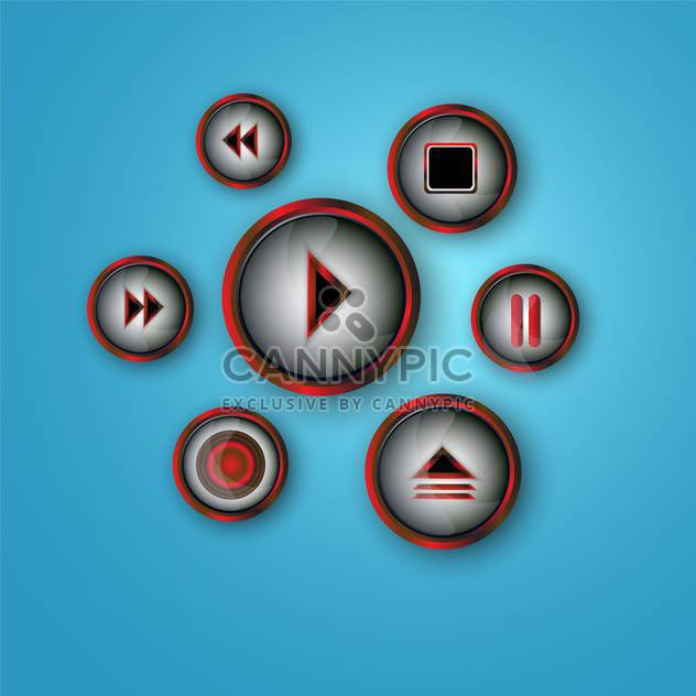 media player buttons set - Free vector #134231