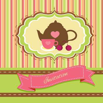 vintage tea party invitation card - vector #134241 gratis