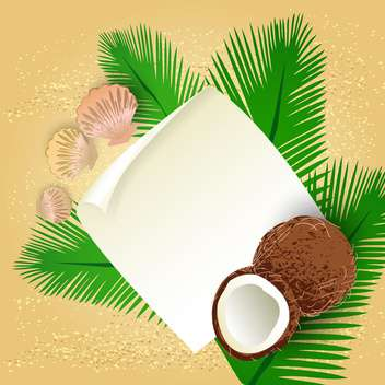 sea greeting card with coconuts and shells - Kostenloses vector #134291