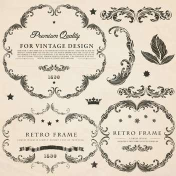 vintage design elements set - vector gratuit #134301