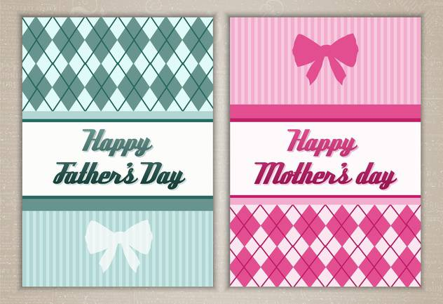 happy mother's and father's day cards - vector gratuit #134351