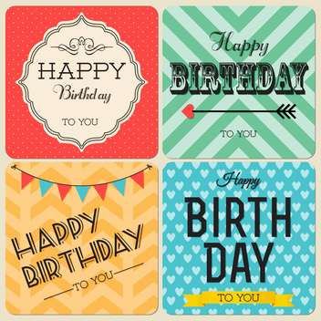 happy birthday greeting cards set - vector gratuit #134391