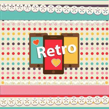 vector retro background with smartphones - vector gratuit #134611