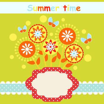 summer time floral card set - vector gratuit #134641
