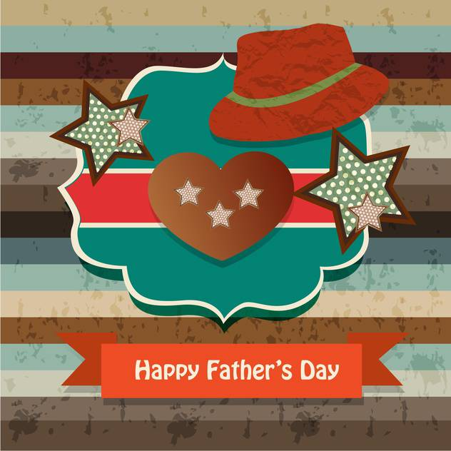 happy fathers day vintage card - vector gratuit #134651