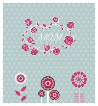 greeting card for mother's day with spring flowers - vector #135061 gratis