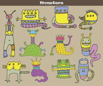 banner with multicolored cartoon monsters - vector gratuit #135071